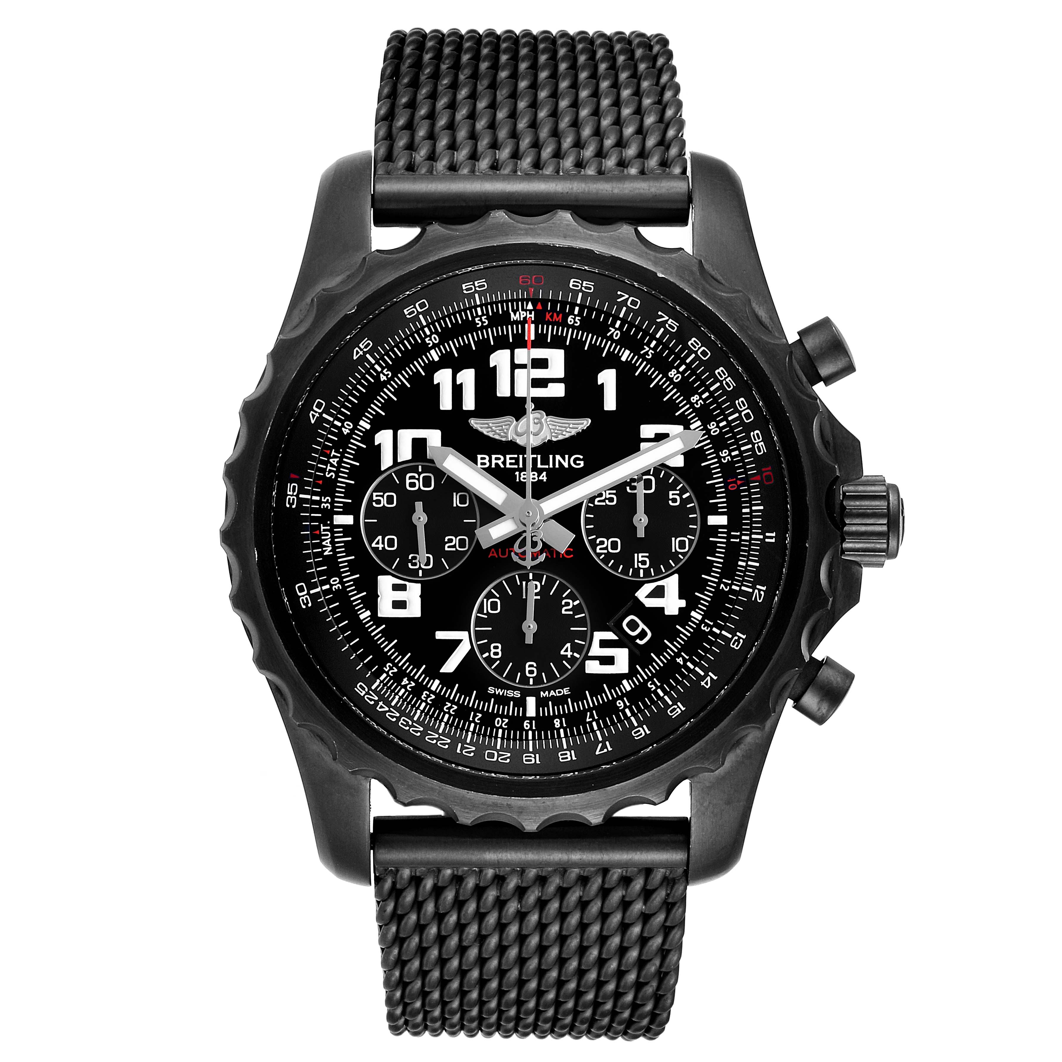 Breitling Chronospace Black PVD Limited Edition Watch M23360 Box Papers SwissWatchExpo