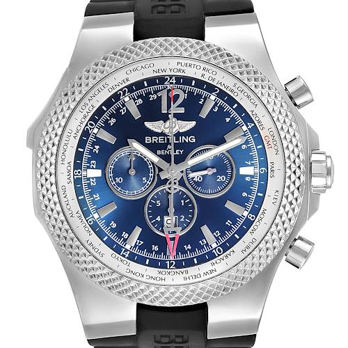 Photo of Breitling Bentley GMT Blue Dial Chronograph Steel Mens Watch A47362