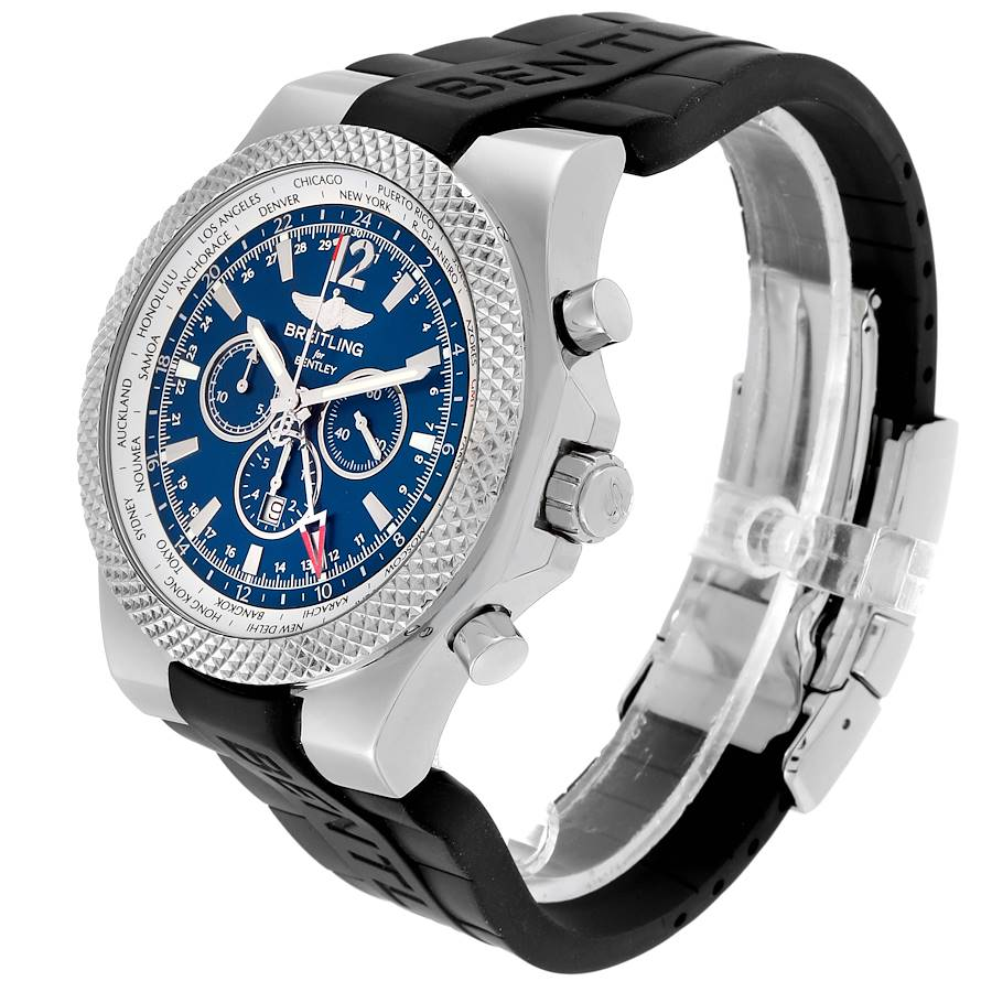 Breitling Bentley GMT Blue Dial Chronograph Steel Mens Watch A47362 SwissWatchExpo
