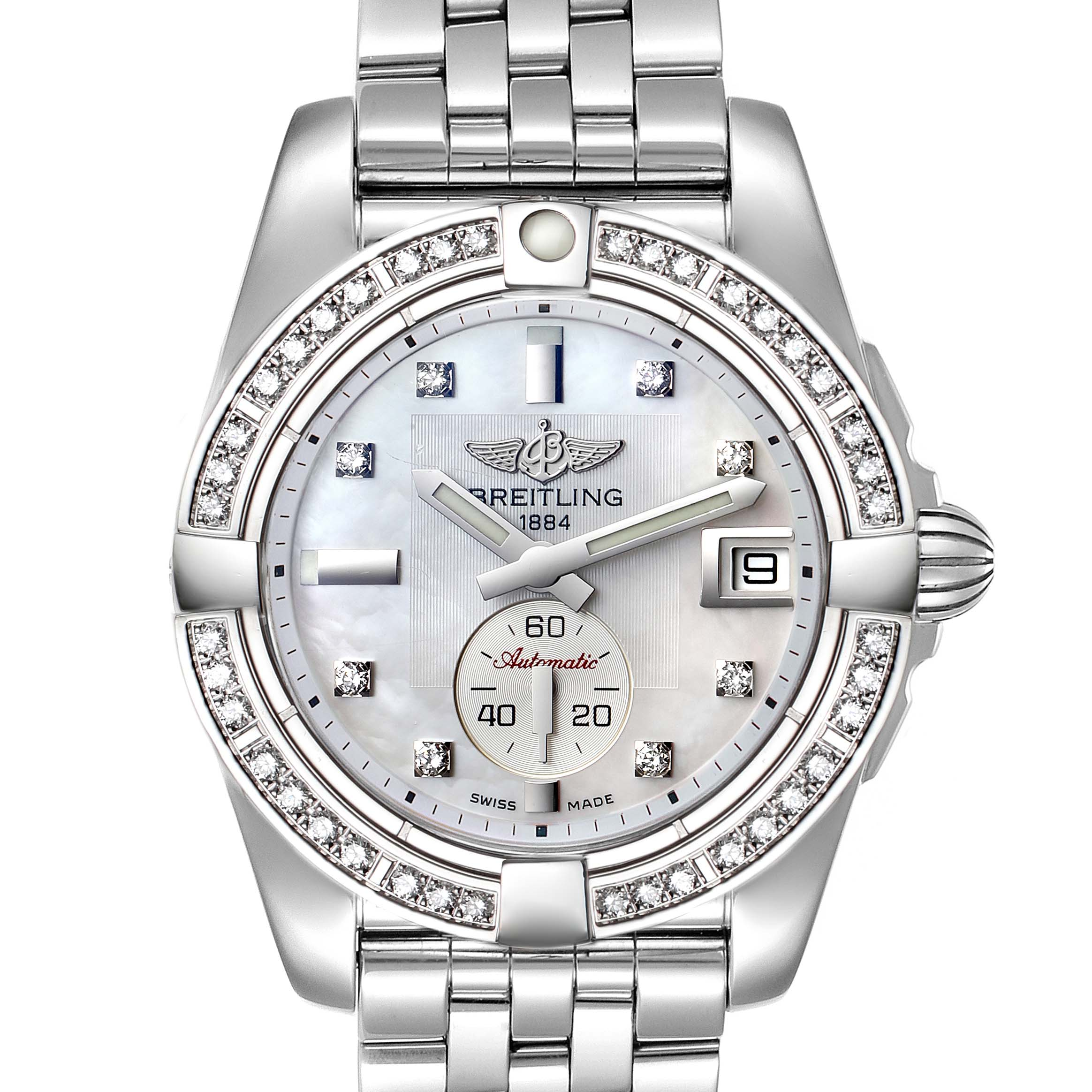 Breitling Galactic 36 Mother of Pearl Diamond Steel Ladies Watch A37330 Box Card SwissWatchExpo