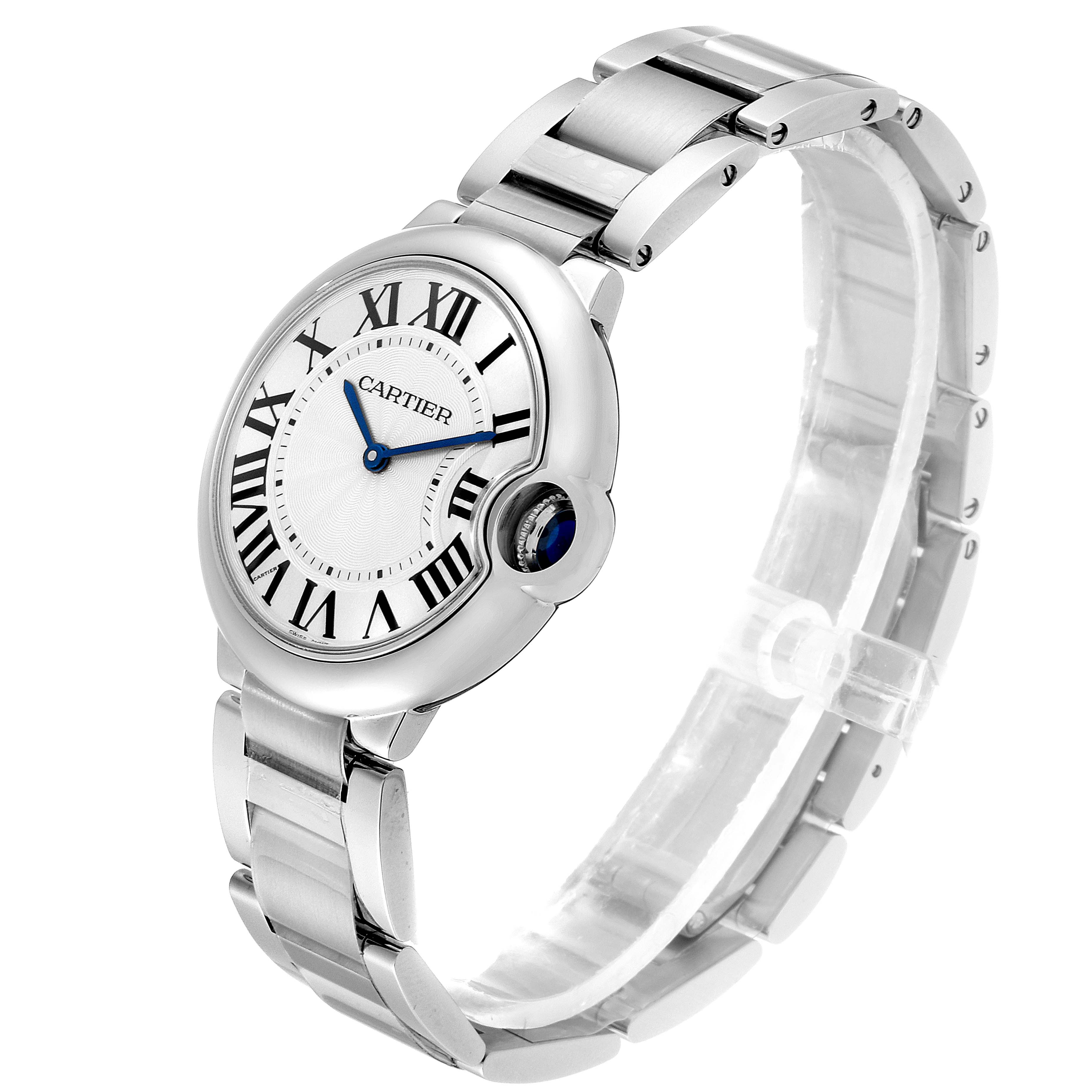 Cartier Ballon Bleu 36 Midsize Silver Guilloche Dial Watch W69011Z4 SwissWatchExpo