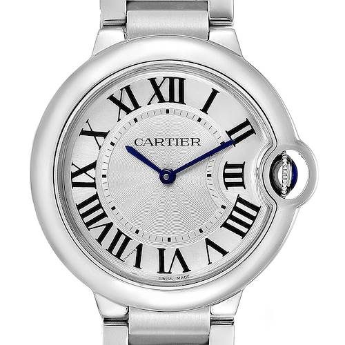 Cartier Ballon Bleu 36 Midsize Silver Guilloche Dial Watch W69011Z4