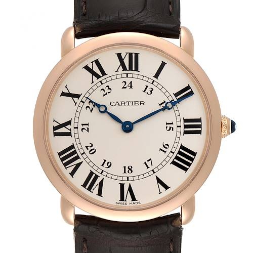 Photo of Cartier Ronde Louis Rose Gold Silver Dial Mens Watch W6800251