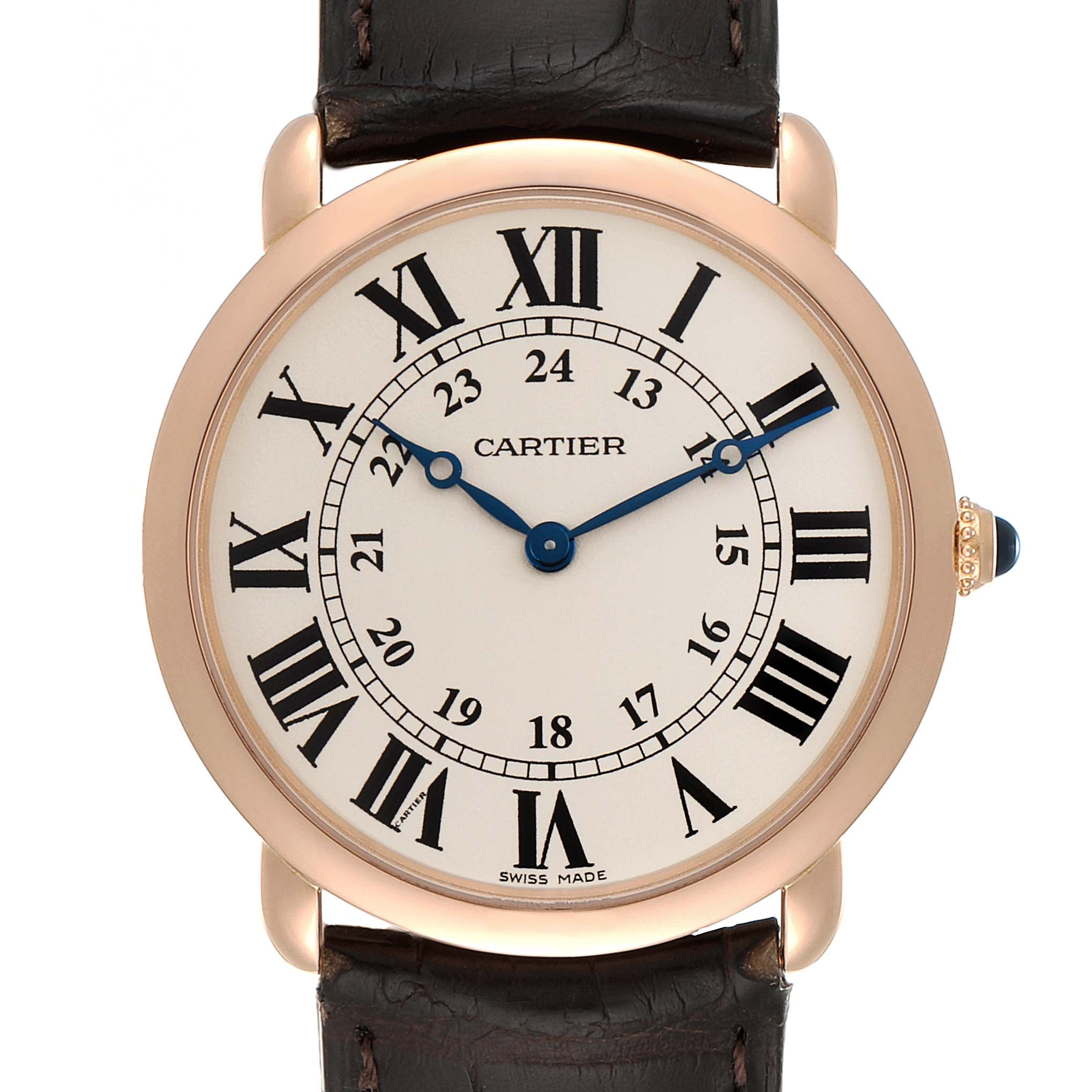 Cartier Ronde Louis Rose Gold Silver Dial Mens Watch W6800251 SwissWatchExpo