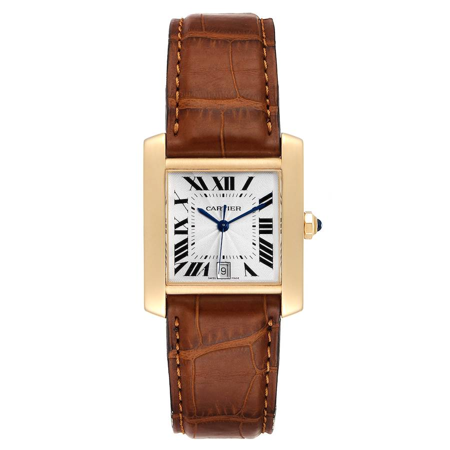 Cartier Tank Francaise Large Yellow Gold Brown Strap Mens Watch W5000156 SwissWatchExpo