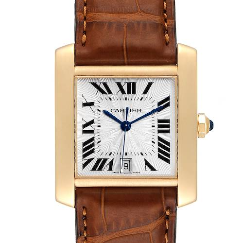 Photo of Cartier Tank Francaise Large Yellow Gold Brown Strap Mens Watch W5000156