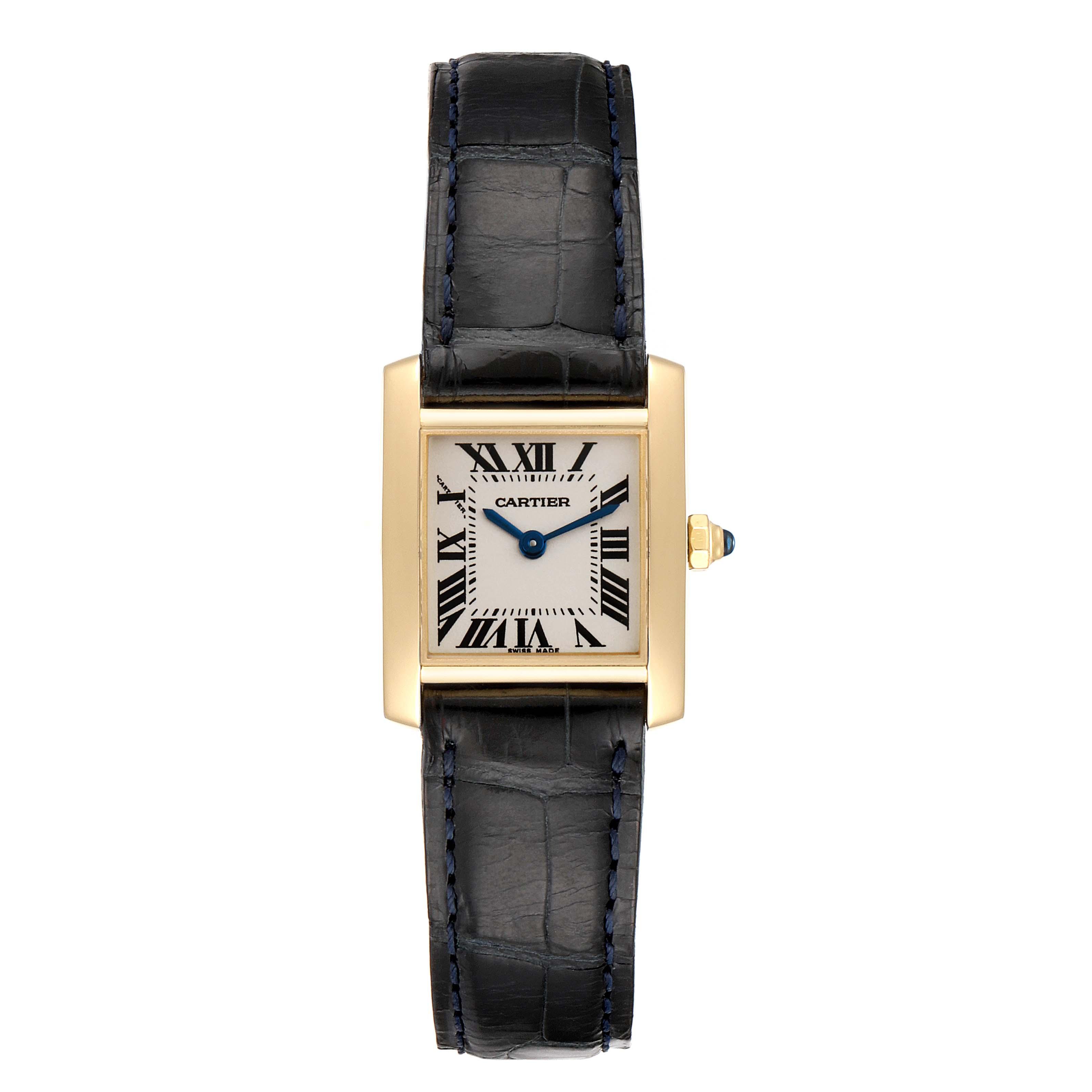 Cartier Tank Francaise Yellow Gold Black Strap Ladies Watch W5000256 SwissWatchExpo
