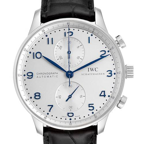 Photo of IWC Portuguese Chrono Silver Dial Blue Hands Steel Mens Watch IW371446