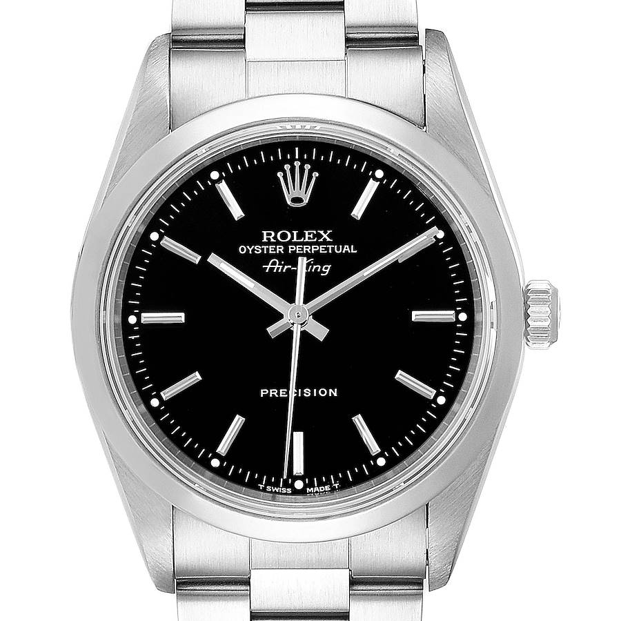 Rolex Air King 34 Black Dial Domed Bezel Steel Mens Watch 14000 SwissWatchExpo