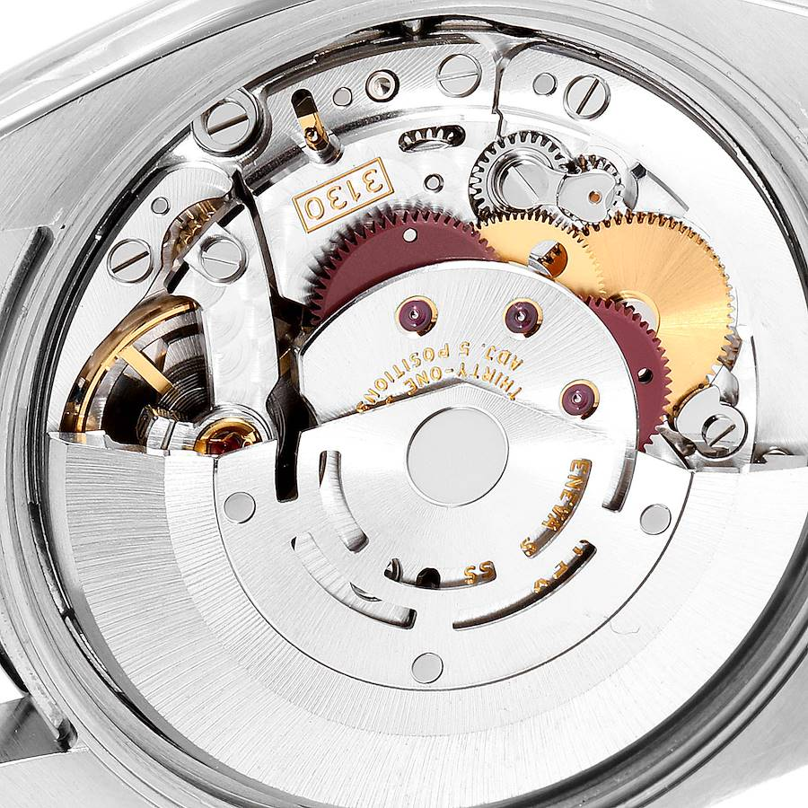 Rolex Air King Blue Dial Steel White Gold Fluted Bezel Mens Watch 114234 SwissWatchExpo