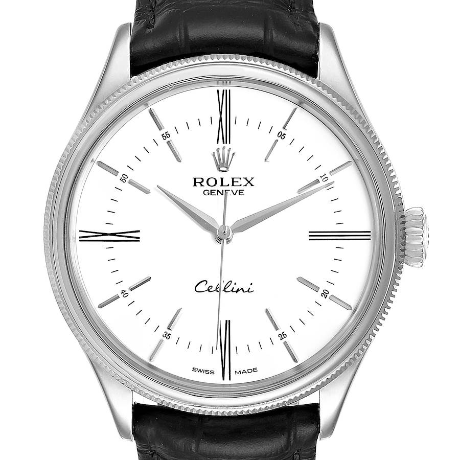 Rolex Cellini Dual Time White Gold Automatic Mens Watch 50509 SwissWatchExpo