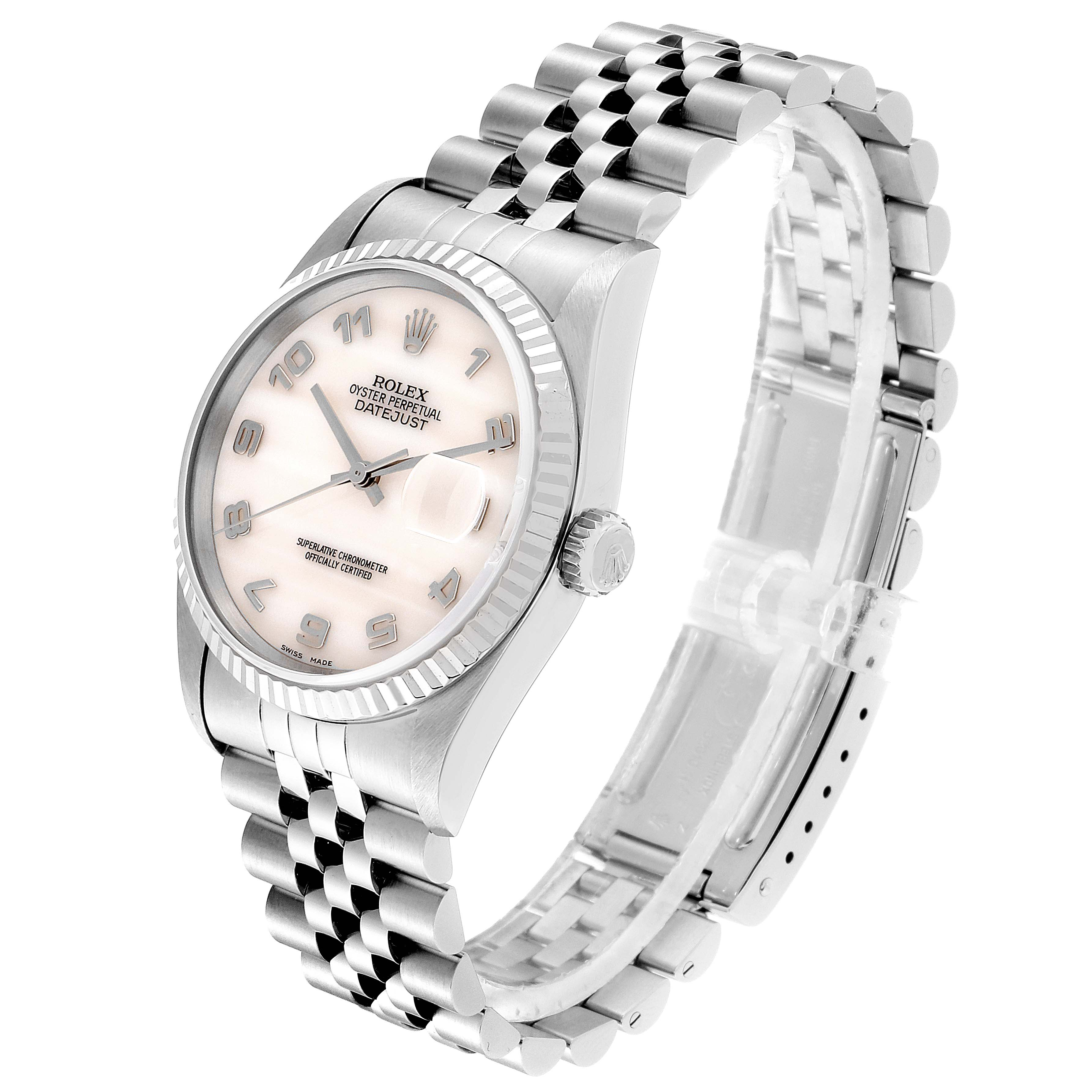 Rolex Datejust Steel White Gold Mother of Pearl Dial Mens Watch 16234 SwissWatchExpo