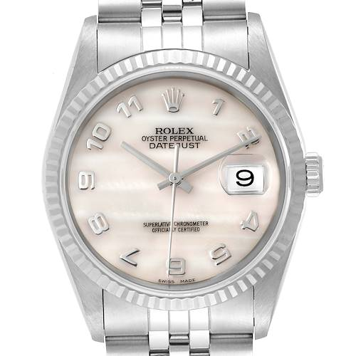 Photo of Rolex Datejust Steel White Gold Mother of Pearl Dial Mens Watch 16234