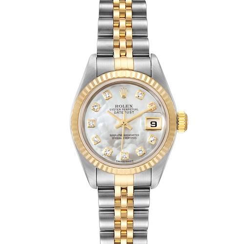 Photo of Rolex Datejust Steel Yellow Gold MOP Diamond Dial Ladies Watch 79173