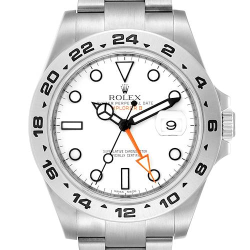Photo of Rolex Explorer II 42 White Dial Orange Hand Steel Mens Watch 216570