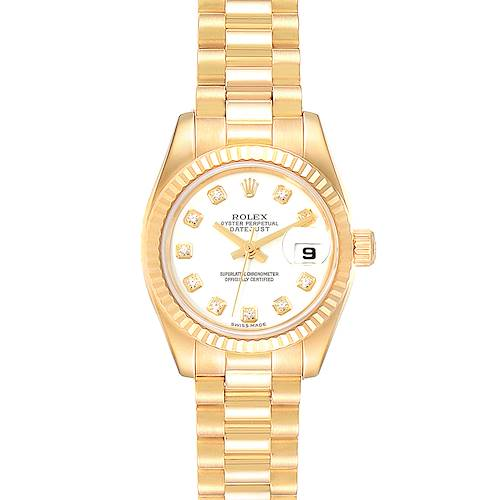 Photo of Rolex President Datejust Yellow Gold Diamond Ladies Watch 179178 Box