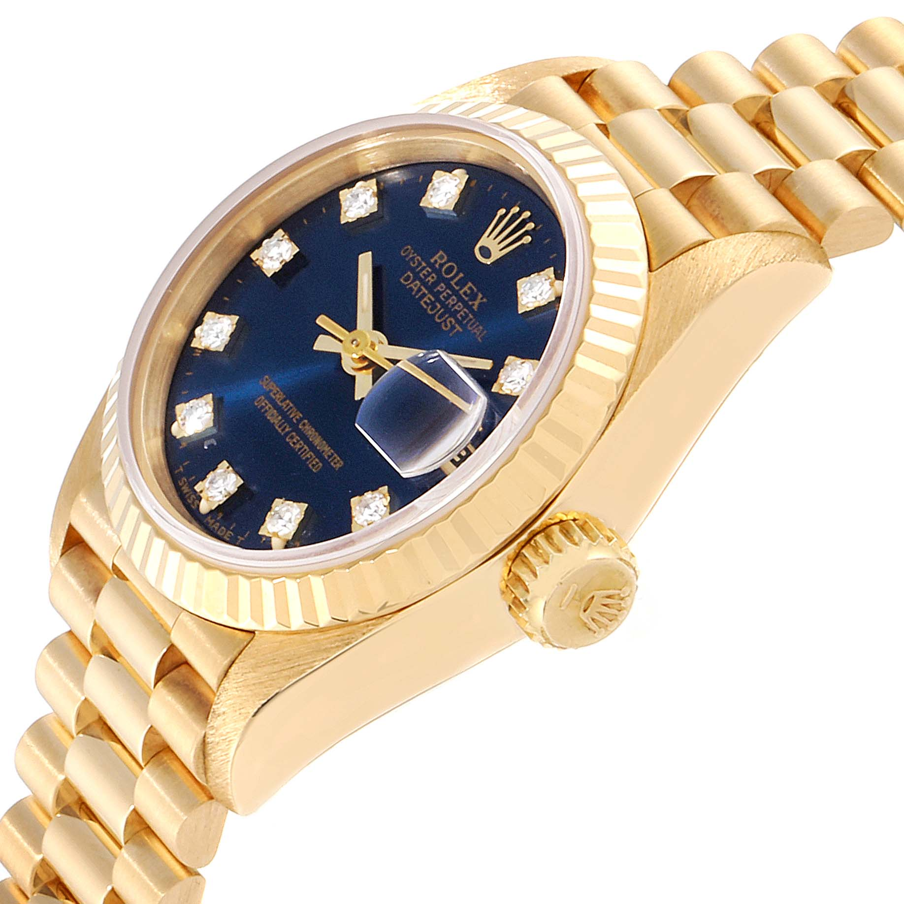 Rolex President Datejust Yellow Gold Diamond Ladies Watch 69178 Box Papers SwissWatchExpo