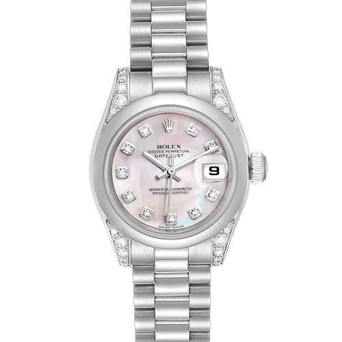 Photo of Rolex President Platinum MOP Diamond Ladies Watch 179296 Unworn
