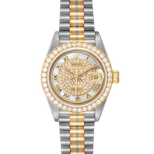 Photo of Rolex President Tridor Yellow White Rose Gold Pave Diamond Ladies Watch 69178