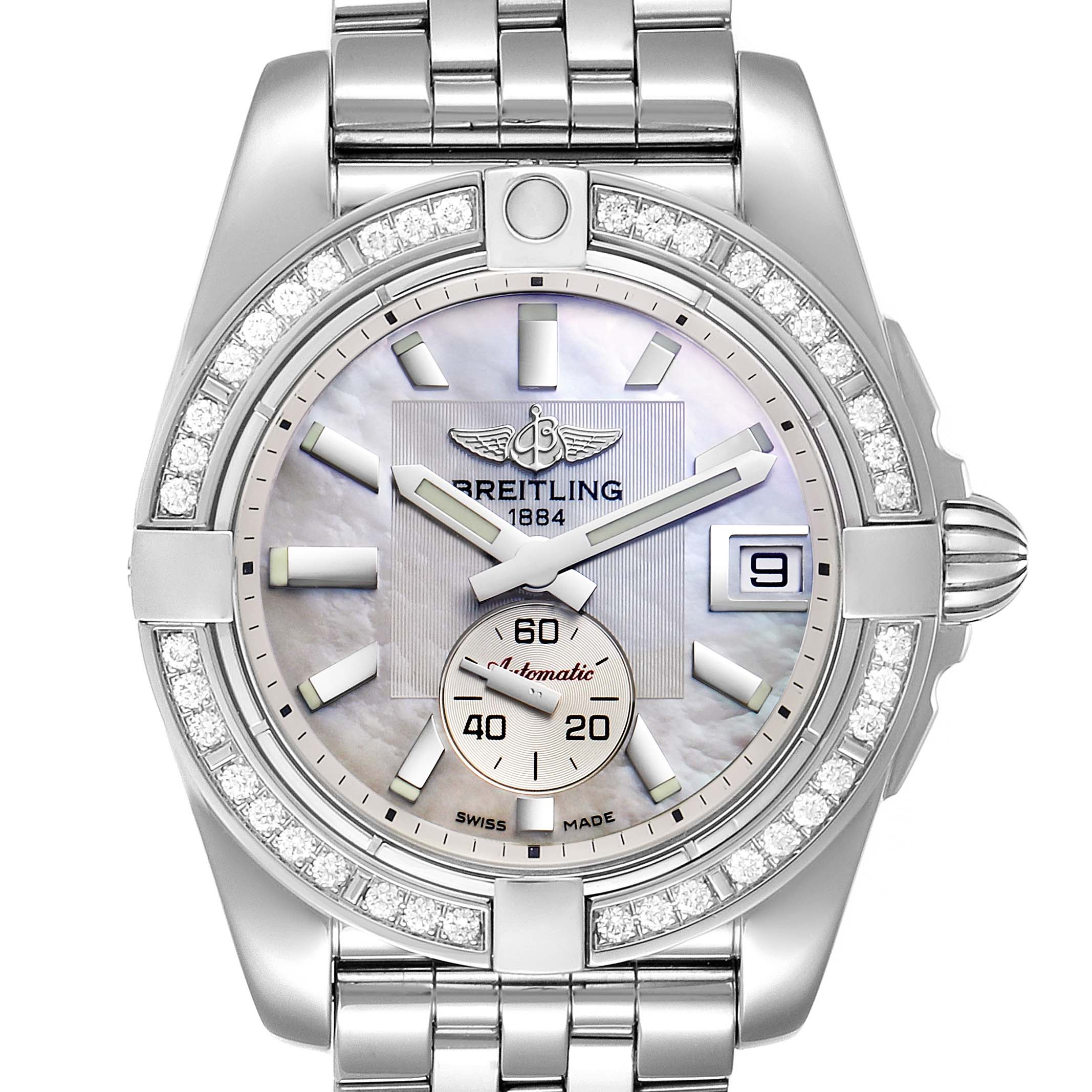 Breitling Galactic 36 Mother of Pearl Diamond Steel Ladies Watch A37330 Box Papers SwissWatchExpo