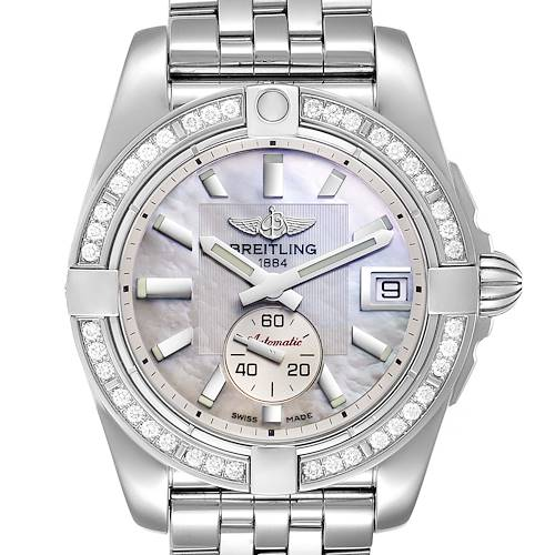 Breitling Galactic 36 Mother of Pearl Diamond Steel Ladies Watch A37330 Box Papers