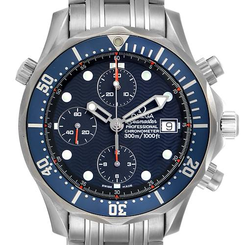 Photo of Omega Seamaster Bond Chrono Blue Wave Dial Mens Watch 2599.80.00 Card