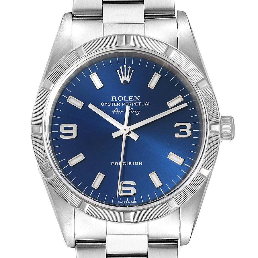 Rolex Air King 34 Blue Dial Oyster Bracelet Steel Mens Watch 14010 SwissWatchExpo