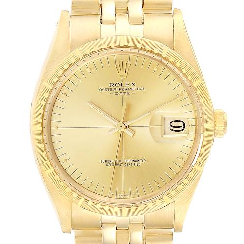Photo of Rolex Date Yellow Gold Jubilee Bracelet Vintage Mens Watch 1512