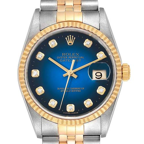 Photo of Rolex Datejust Steel Yellow Gold Diamond Vignette Dial Mens Watch 16233