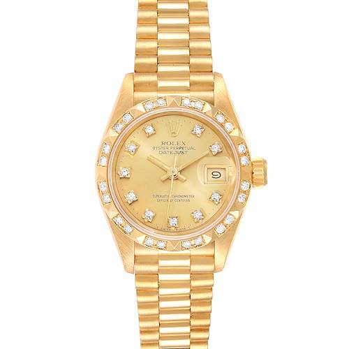 Photo of Rolex President Datejust Yellow Gold Pyramid Diamond Bezel Watch 69258