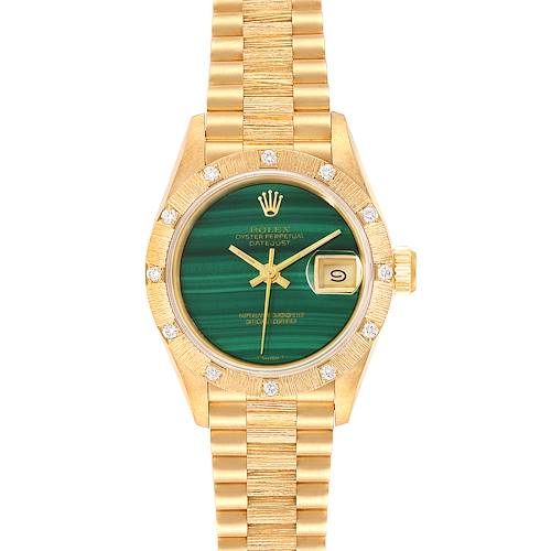 Photo of Rolex President Yellow Gold Malachite Diamond Ladies Watch 69288 Box Papers