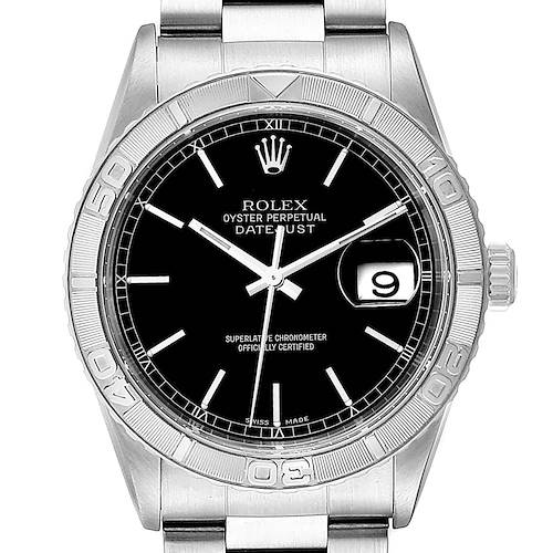 Photo of Rolex Turnograph Datejust Steel White Gold Black Dial Mens Watch 16264
