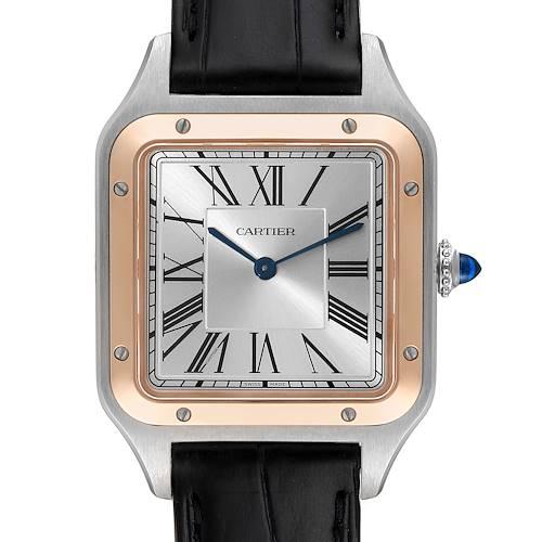 Photo of Cartier Santos Dumont Large Steel Rose Gold Mens Watch W2SA0011 Unworn