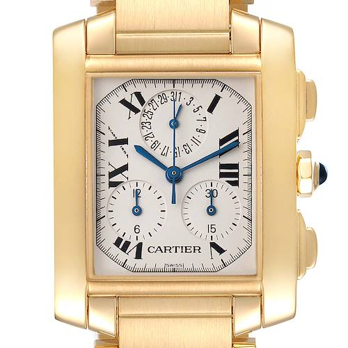 Photo of Cartier Tank Francaise Chrongraph Yellow Gold Quartz Watch W50005R2 Box Papers