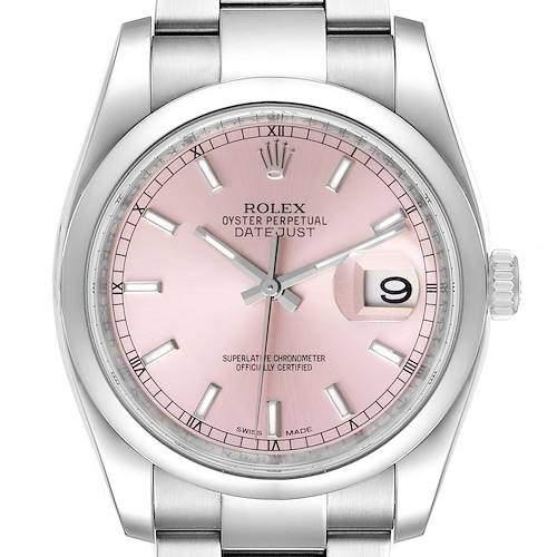 Photo of Rolex Datejust 36 Pink Baton Dial Steel Mens Watch 116200 Box Card