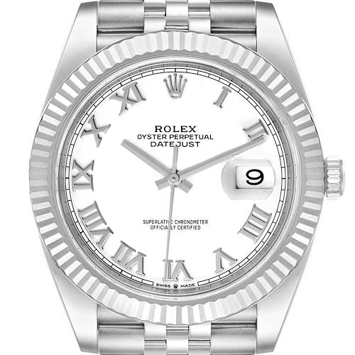 Photo of Rolex Datejust 41 Steel White Gold White Dial Mens Watch 126334