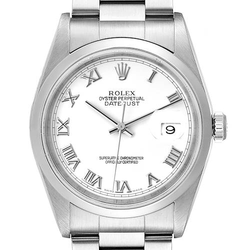 Photo of Rolex Datejust White Roman Dial Oyster Bracelet Steel Mens Watch 16200