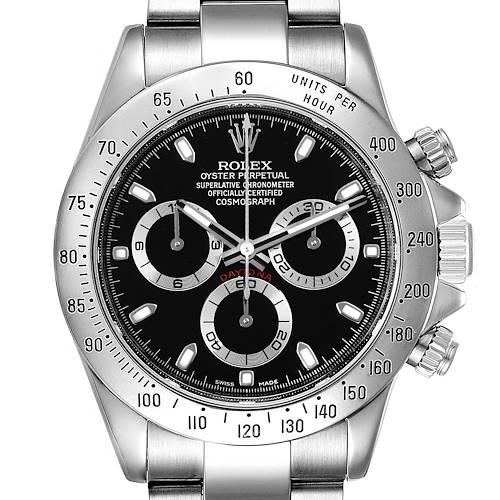 Photo of Rolex Daytona Black Dial Chronograph Steel Mens Watch 116520 Box Card