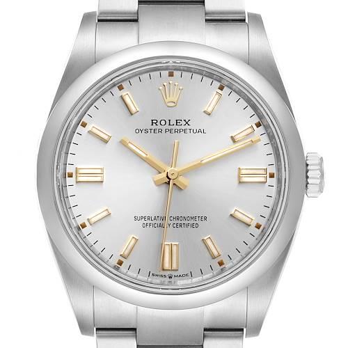 Photo of Rolex Oyster Perpetual Silver Dial Steel Mens Watch 126000 Unworn