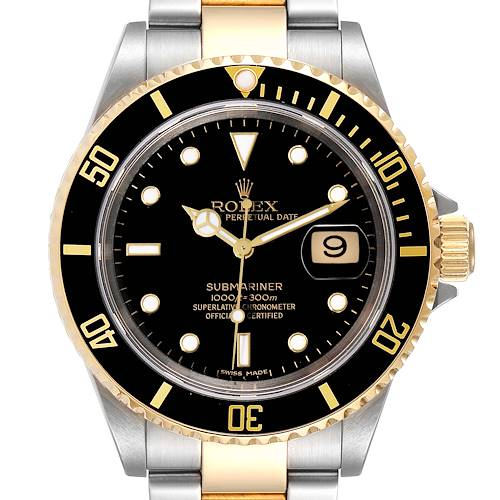 Photo of Rolex Submariner Black Dial Steel Yellow Gold Mens Watch 16613 Box Papers