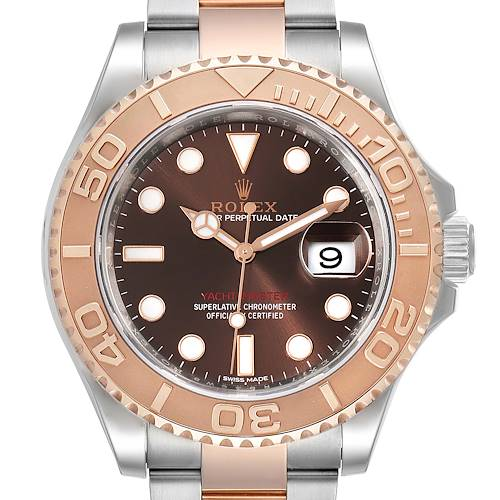 Photo of Rolex Yachtmaster 40 Everose Gold Steel Brown Dial Watch 116621 Box Card