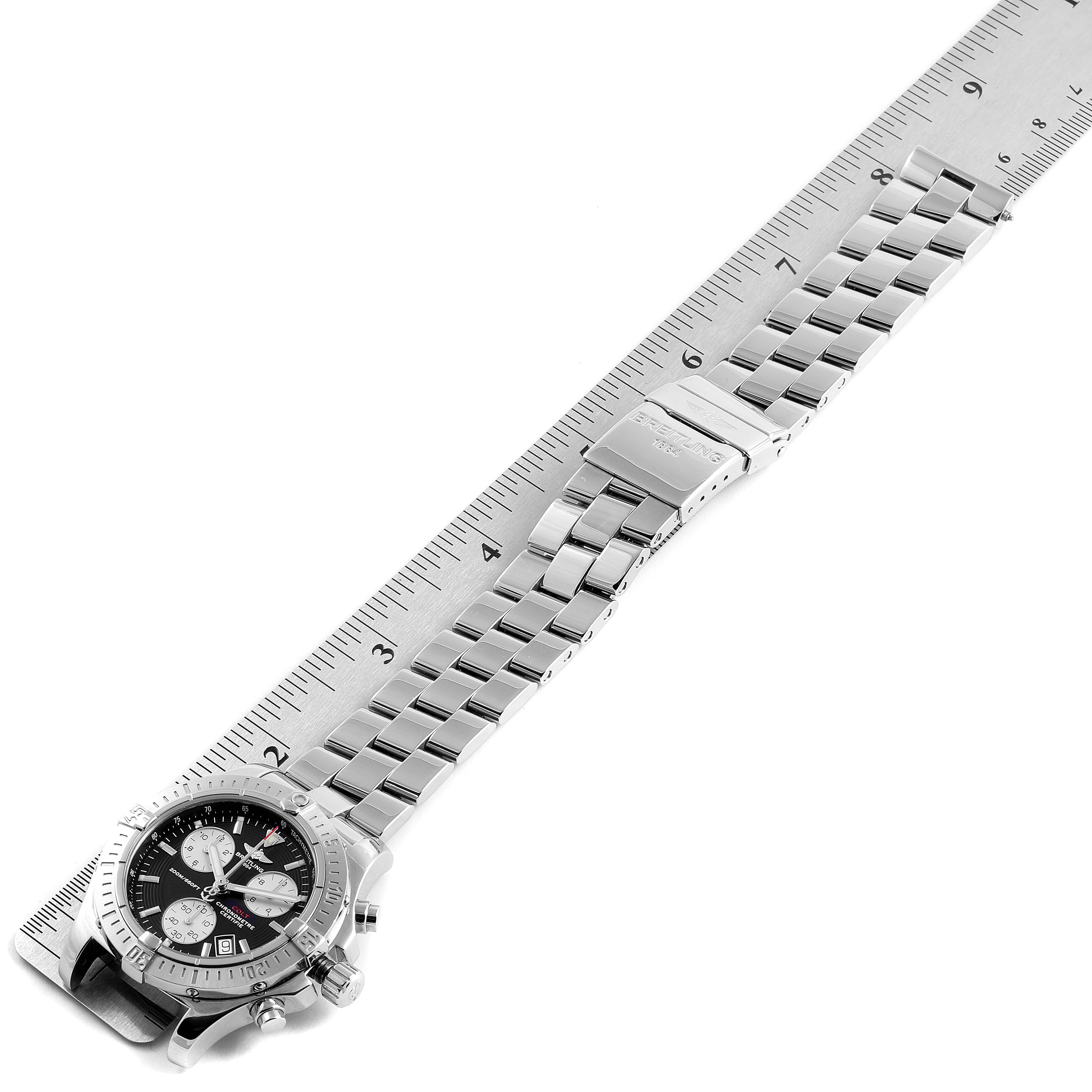 Breitling Colt Chronograph Silver Subdials Steel Mens Watch A73380 SwissWatchExpo