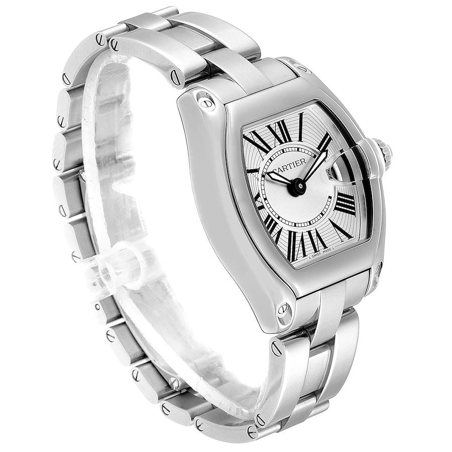 Cartier Roadster Silver Dial Small Model Steel Ladies Watch W62016V3 Box SwissWatchExpo