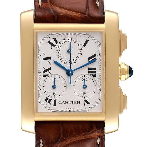 Photo of Cartier Tank Francaise Chronoflex 18K Yellow Gold Mens Watch W5000556