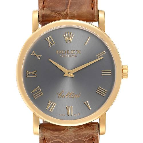 Photo of Rolex Cellini Classic 18K Yellow Gold Slate Roman Dial Watch 5115