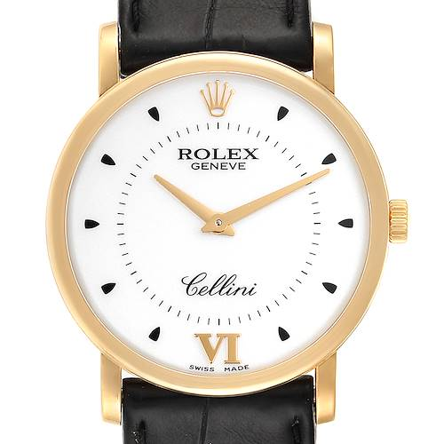Rolex Cellini Classic Yellow Gold Brown Strap Mens Watch 5115 Box Card