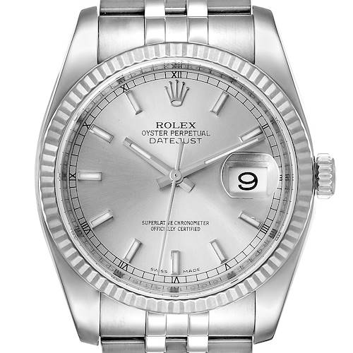 Photo of Rolex Datejust Steel White Gold Silver Dial Mens Watch 116234 Box Card