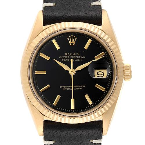 Photo of Rolex Datejust Steel Yellow Gold Black Strap Vintage Mens Watch 1601