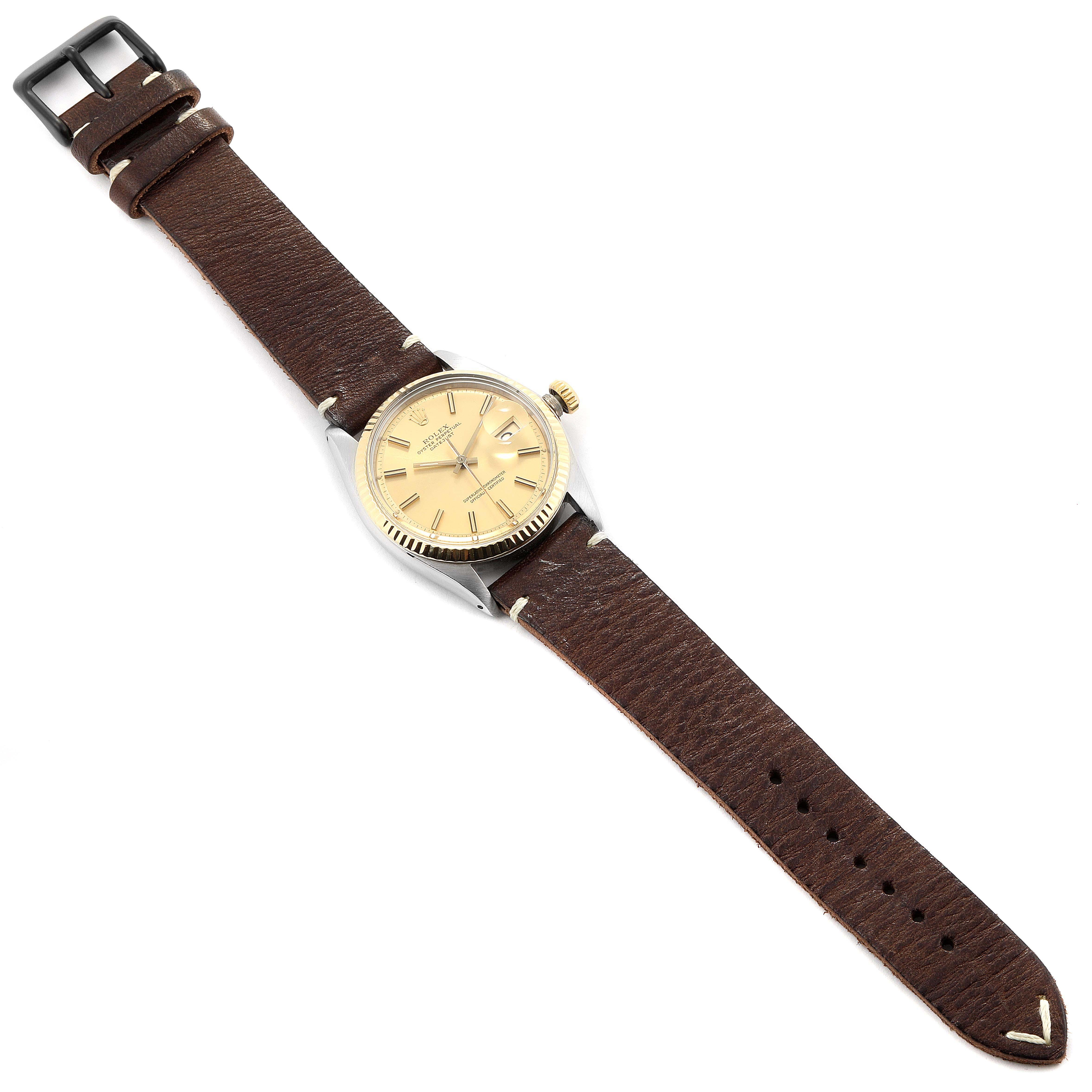 Rolex Datejust Steel Yellow Gold Brown Strap Vintage Mens Watch 1601 SwissWatchExpo
