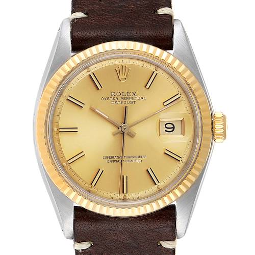 Photo of Rolex Datejust Steel Yellow Gold Brown Strap Vintage Mens Watch 1601